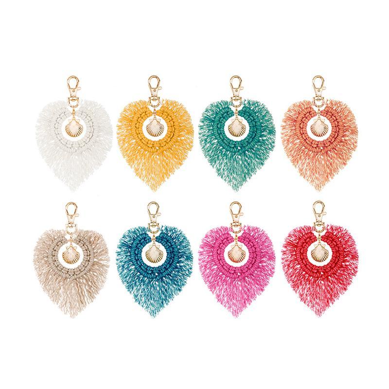 Cuero de la borla con el colorido Pompons bolso accessorise Boho Style llaveros para las mujeres llavero joyería hecha a mano
