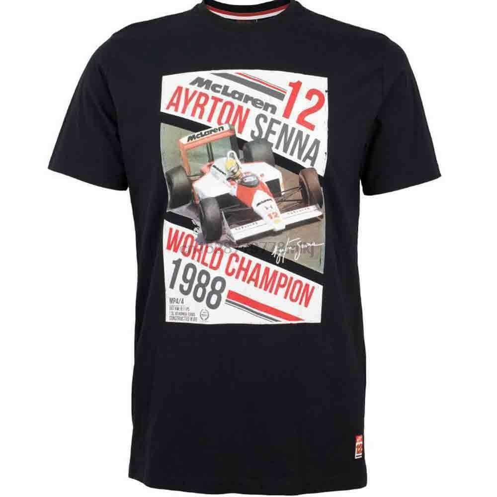 Ayrton Senna 1988 Mclaren Campeões do Mundo Preto T-shirt Grande Td095 Ll 03