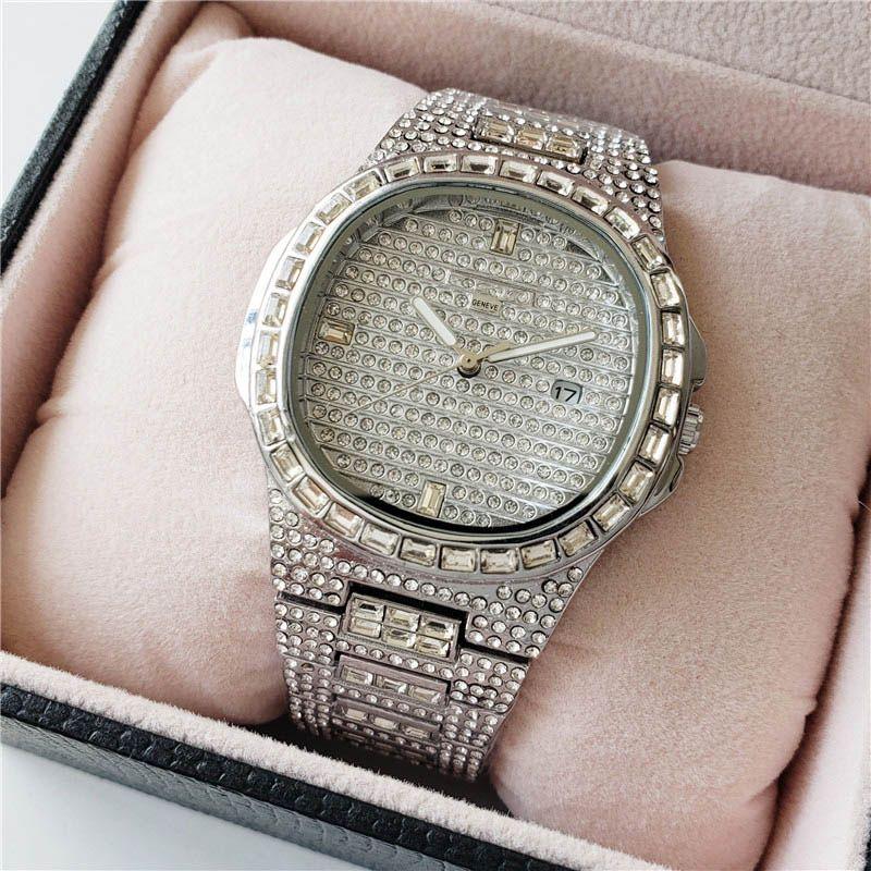 패션 브랜드 시계 남자의 전체 크리스탈 페이트 스타일 스테인레스 스틸 밴드 달력 날짜 석영 손목 시계 PP04