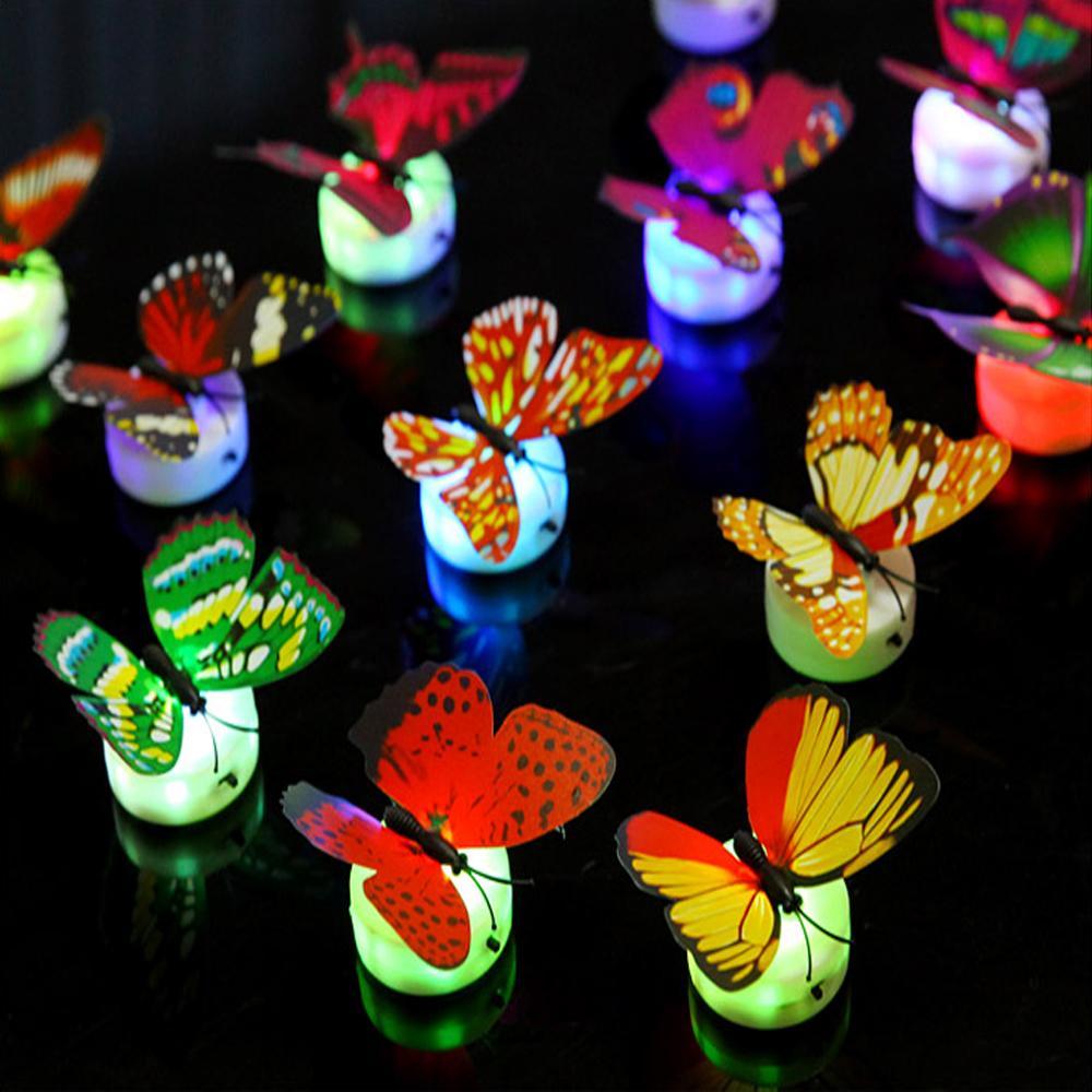 색 빛 나비 벽 스티커 쉬운 설치 야간 조명 홈 생활 아이 방 Fridage 침실 장식 무료 배송