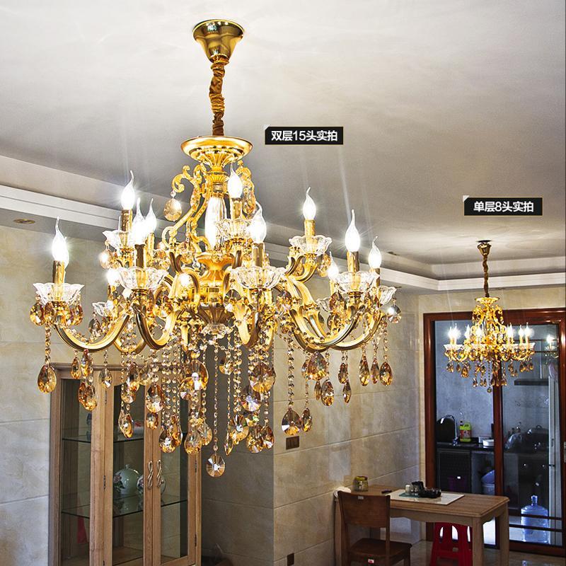 Золото Хрустальная люстра для гостиной латунный бронзовый канделябр украшения Современные светодиодные люстры Освещение кухни лампы висячие