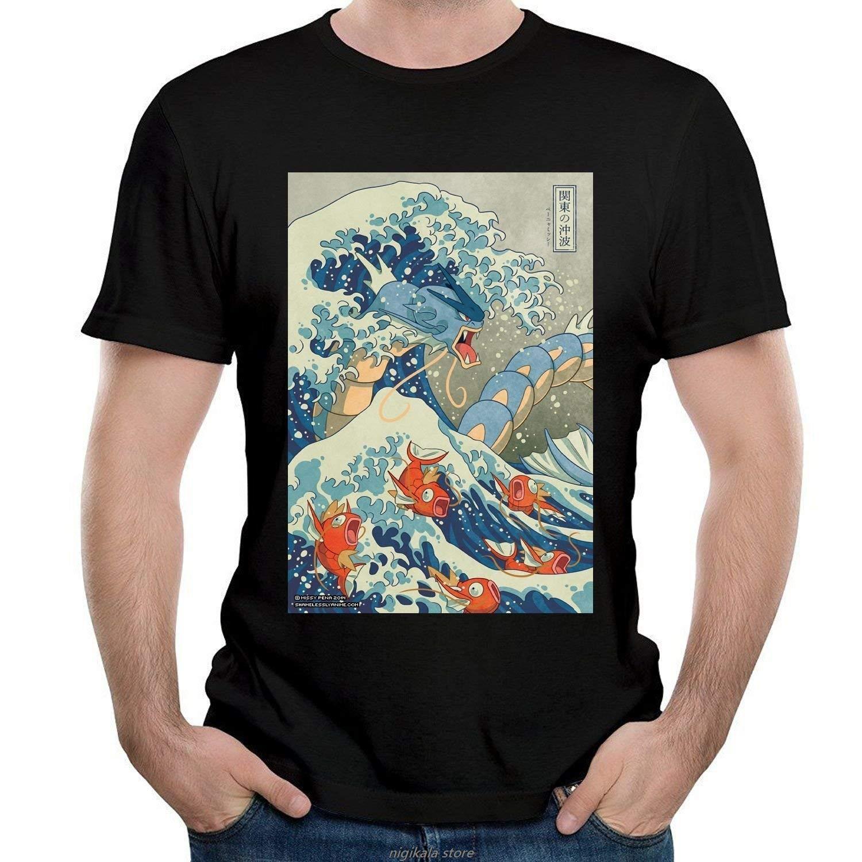 Gyarados Fish Hommes T-shirts T-shirt noir Homme récent Été Casual Homme T-shirt de bonne qualité Top Tee