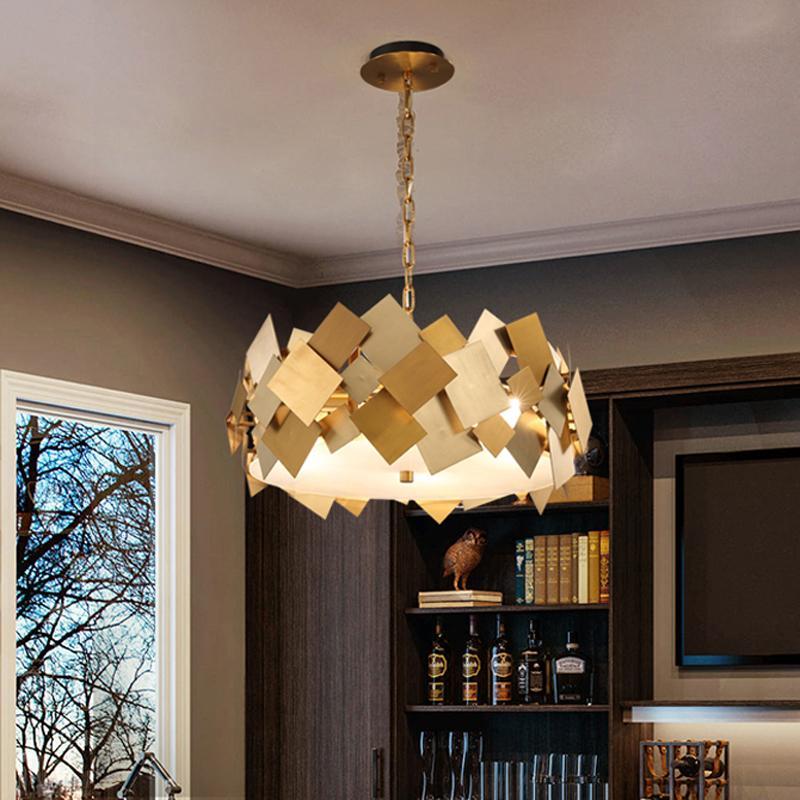 Moderne Luxus-Gold Metall Pendelleuchte Home Hotel Wohnzimmer Restaurant Schlafzimmer Beleuchtung Dekor Kronleuchter PA0640