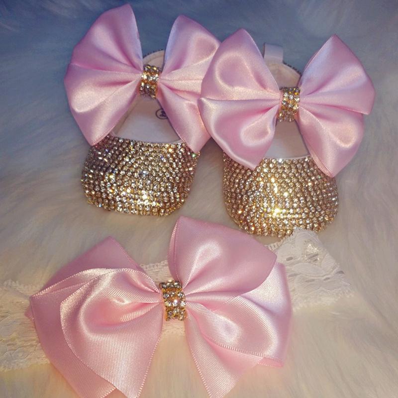 Dollbling Crown Jewelry Personalizado Macio Rosa Dourado Bailarina Dourado Bebê Menina Newborn Photo Aniversário 0-6m CRIB Sapatos Headband