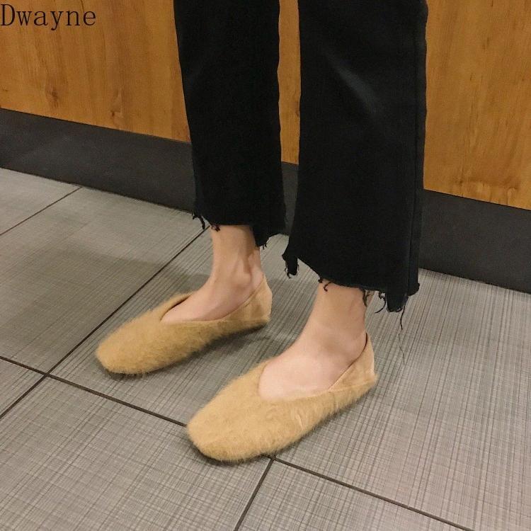 Erbsen Schuhe weiblich 2020 und Winter neue Pelz-Schuhe Wohnung Shallow Mouth Faul One Foot Lämmer Milch Großmutter EBAL #