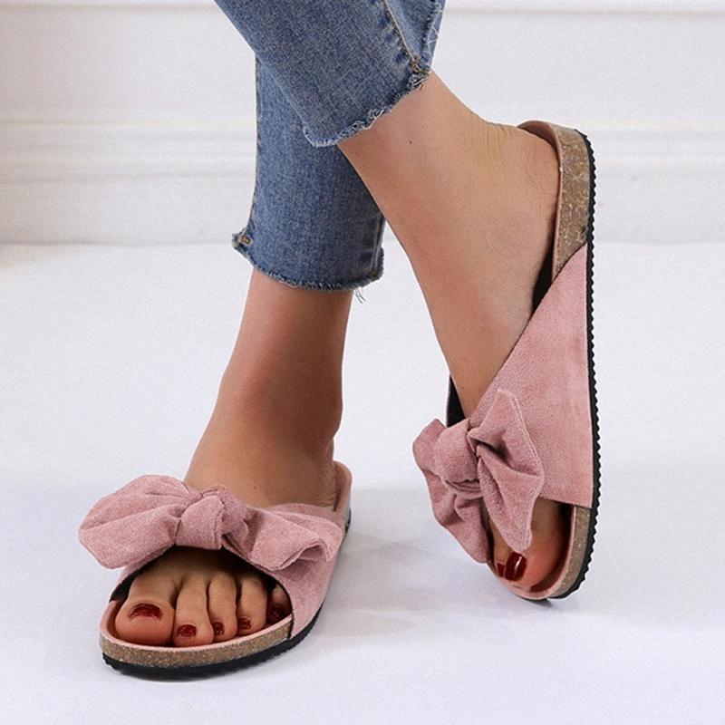 Mujeres arco de la manera antideslizante zapatillas lazo verano plana deslizadores inferiores gruesos interior Playa al aire libre Calzado cómodo hogar de belleza DS5x #