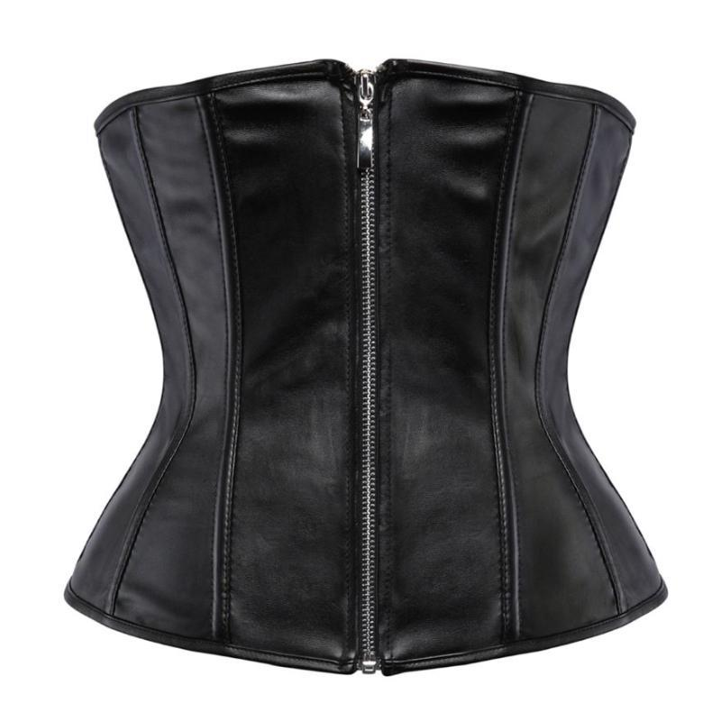 Women Gothic Faux Leather Zipper Corset Waist Cincher Body Shaper Burlesque Sexy Corsets Bustiers Lingerie Top Pu Clothes