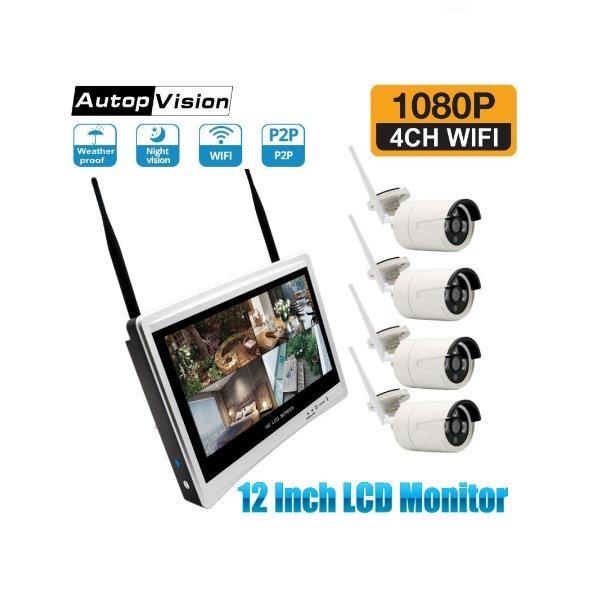 مجموعة الدوائر التلفزيونية المغلقة الكاميرا كاملة 12  LCD لاسلكية مراقب NVR CCTV الأمن نظام H.265 واي فاي 4 قناة التوصيل والكاميرات الامنية اللعب مجموعة