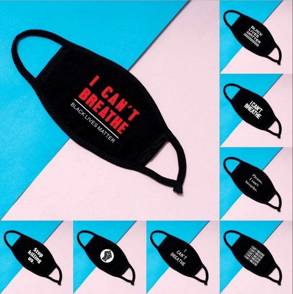 En stock I Cant Breathe Masques visage Masques de coton lavables vie Noir Matière Masques Mode Masque Designer pour adultes fy9131