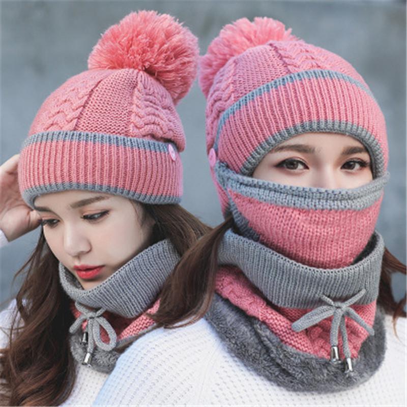 sombrero femenino versión coreana de invierno, además de terciopelo grueso máscara babero protección para los oídos en bicicleta estilo cálido invierno gorro de lana gorro de lana k182