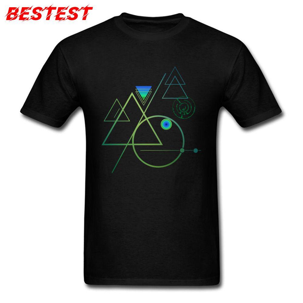 Абстрактная тенниска для мужчин Geek Геометрического шаблон Tshirt 2018 Summer Black Tshirt Team Топы Тис Выборочных компании Одежда XS