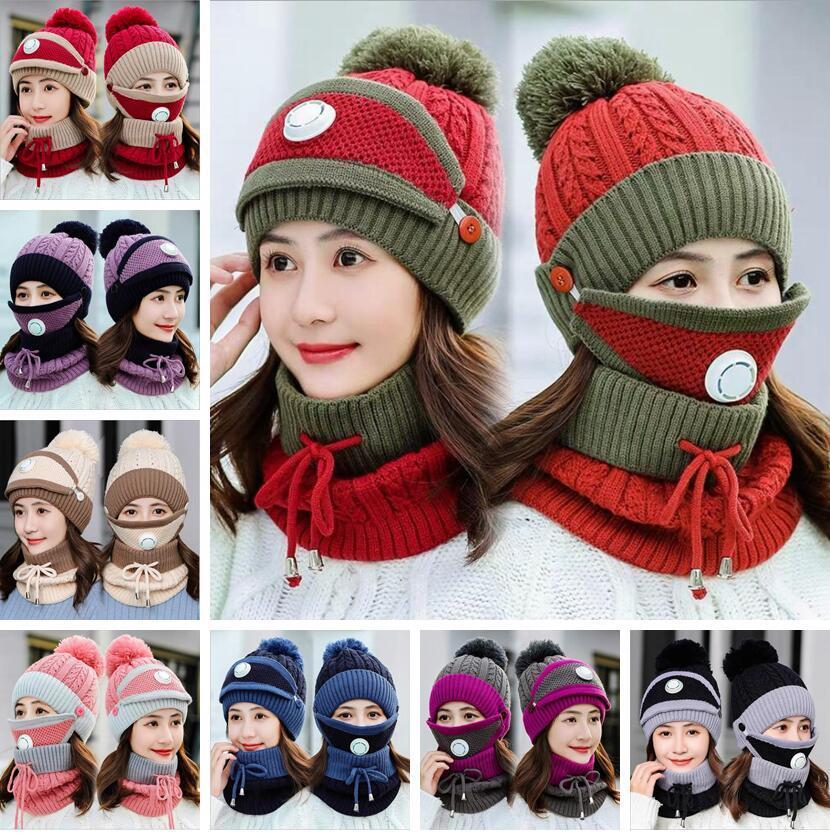 Chapeaux d'hiver Masques Scarf Set tricotée avec Valve Maks Beanies écharpe femmes laine Pompon Sets Chapeau Casual Party Chapeaux Foulards Supplies LSK1342
