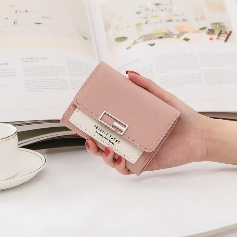vrgUm New 2020 small women's short Korean style wallet fashionable folding personalized student cute mini fashion wallet coin purse