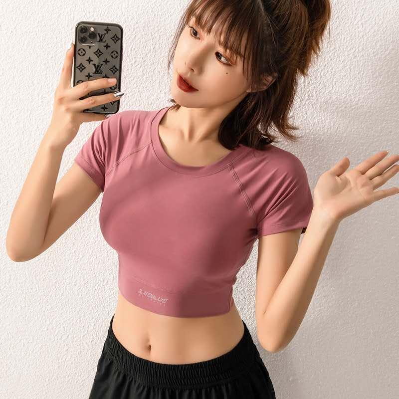 Yoga manica corta donne Vital senza saldatura Lettera solido vestito di sport Slim Gym Clothes fitness Bassiera shirt Sportswear