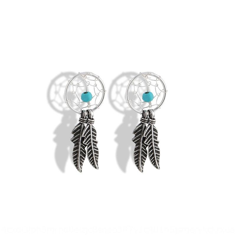 2VJZm Shishang Pine stone Turquoise and creative Indian feather leaf personalized creative earrings S925 silver Old Thai silver earrings