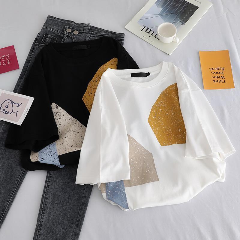 Kawaii à manches courtes T-shirt Femmes Casual Hauts géométriques Femme T été femme T-shirts Hauts L0409