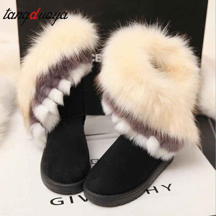 Kış Sıcak Kadınlar Kürk Kar Ayakkabı Flats Bilek kar botları Kadınlar Bayanlar Boots Sıcak Satış 2020 Moda Siyah Yuvarlak Burun Casual Kayma
