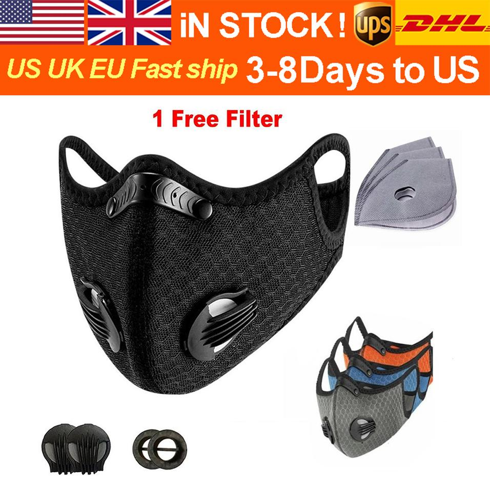 Fashion breathable bicycle mask sports outdoor training mask PM2.5 protective mask dust and pollution prevention running activated carbon fi