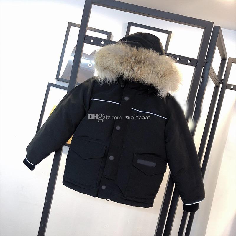 En Kaliteli Çocuk Ceket Moda Tasarımcısı Kış Aşağı Ceket Açık Termal Rüzgar Geçirmez Su Geçirmez Gerçek Kurt Kürk