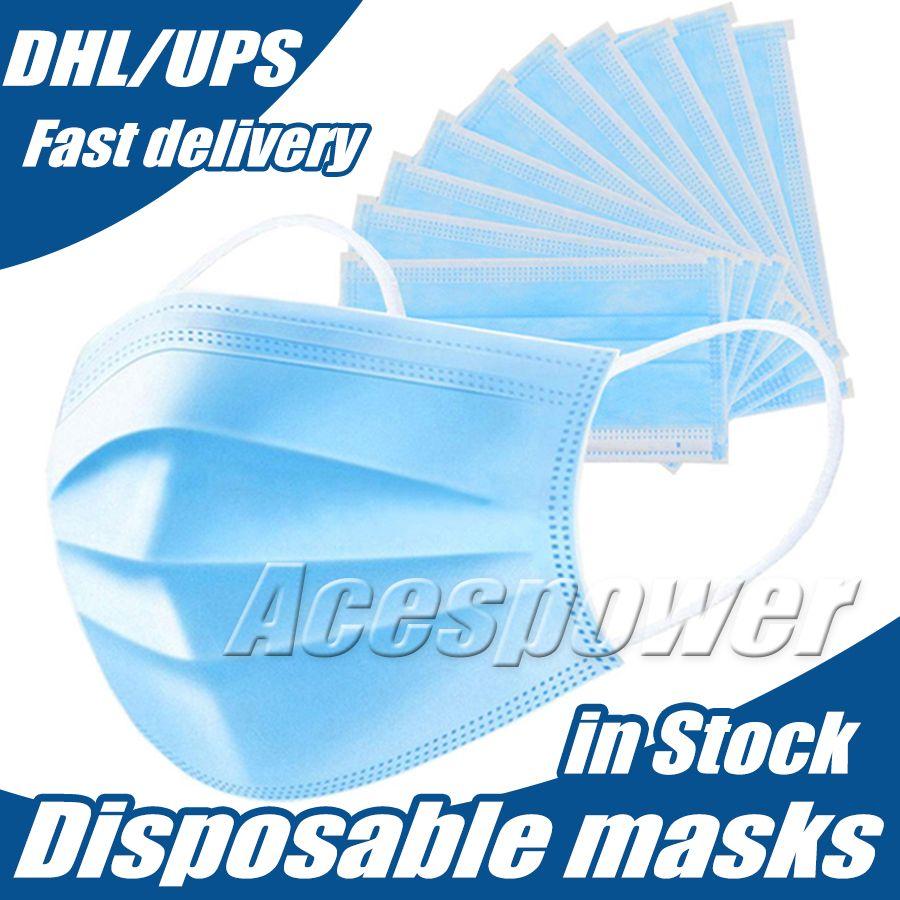 Máscara máscaras descartáveis rosto diariamente Três Camada protetora anti nevoeiro à prova de poeira máscara de protecção individual da navio via DHL