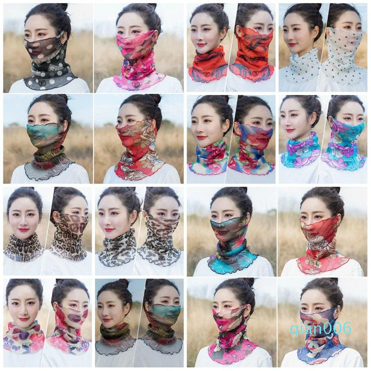 Art und Weise Frauen-Schal-Gesichtsmaske Außen Schleier windundurchlässiges Half Face Staubdicht Sonnenschutz-Masken-Schal Staubmaske Ohr Typ Partei Masken T2I5899