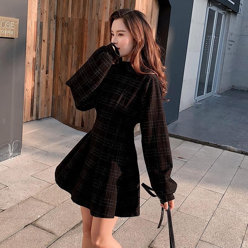 estilo oscuro elegante figura cintura pequeña tela escocesa vestido formal vestido negro pequeño YK2tb