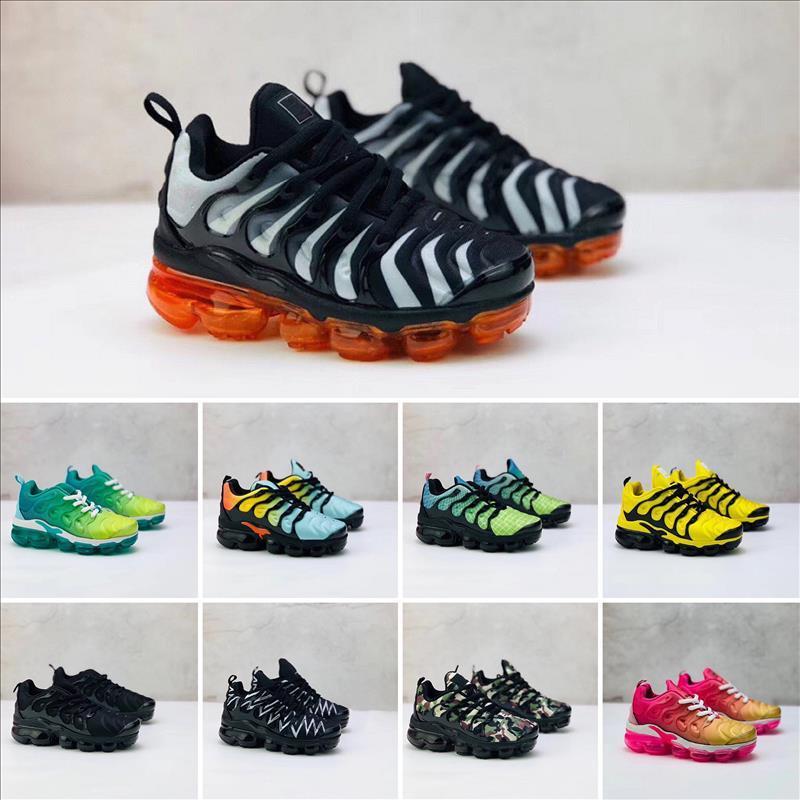 Nike Air VaporMax Plus TN 2019 малыша Теннесси дышащий 2.0 радуги сетки кроссовки ТНС подушка детская воздуха по делам детей спортивные спортивная обувь плюс тренеры