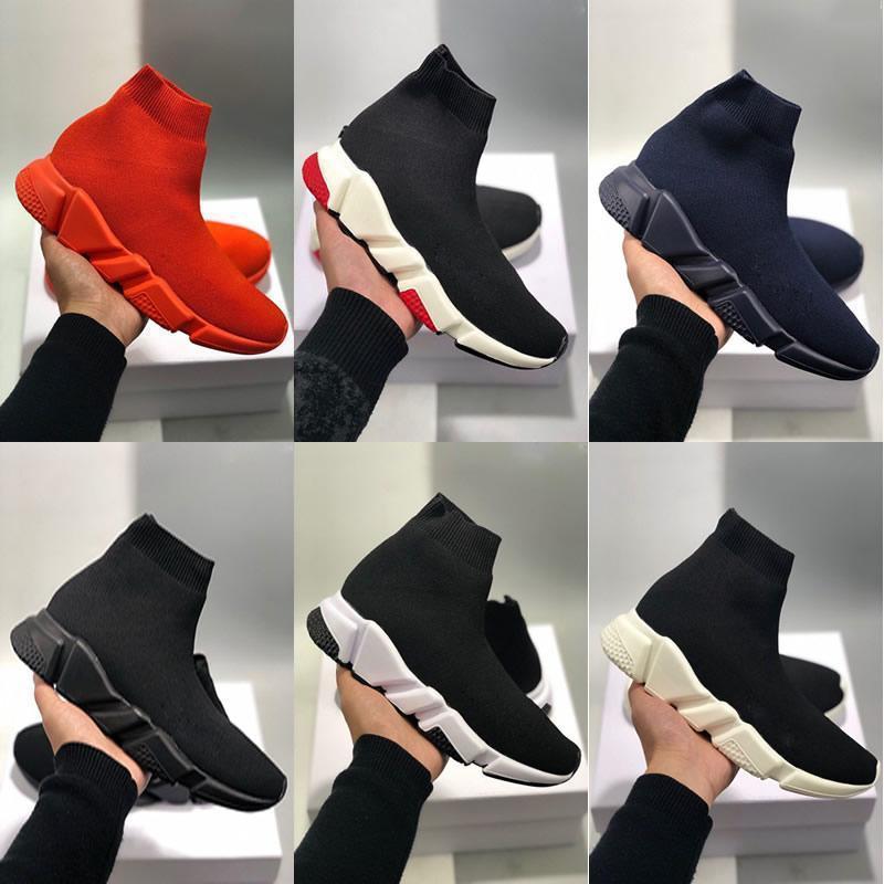 2020 Paris Üçlü Casual Ayakkabı S Moda Marka Tasarımcı Çorap Ayakkabı Hız Eğitmen Siyah Kırmızı Üçlü Siyah Çorap Sneakers F45
