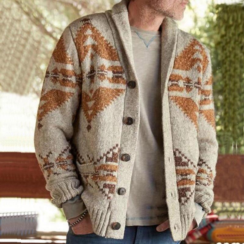 HEFLASHOR Herren Cardigan Print Pullover Herbst Weihnachten Pullover Pullover Herren Winterjacke Mantel-beiläufige Stehkragen Strick Warm