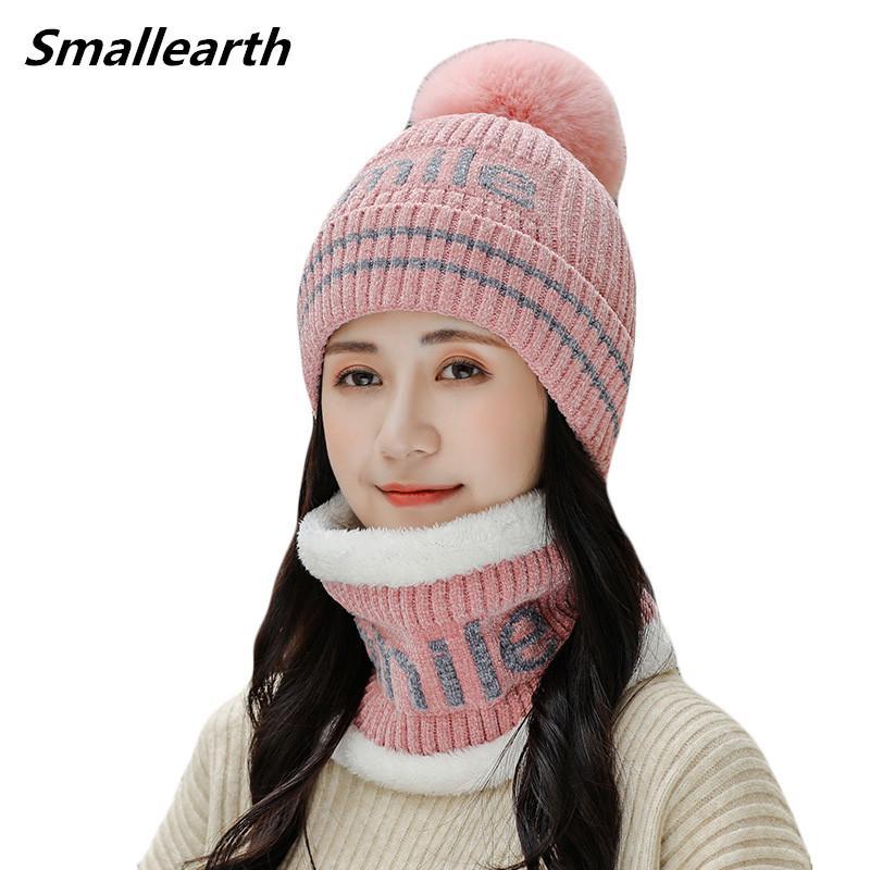 Nuevo invierno Pompom sombrero de la bufanda set Para las mujeres calientes de terciopelo Niñas Plus Caps Mujer casual de invierno gruesas hicieron punto los sombreros de felpa 2 Piezas