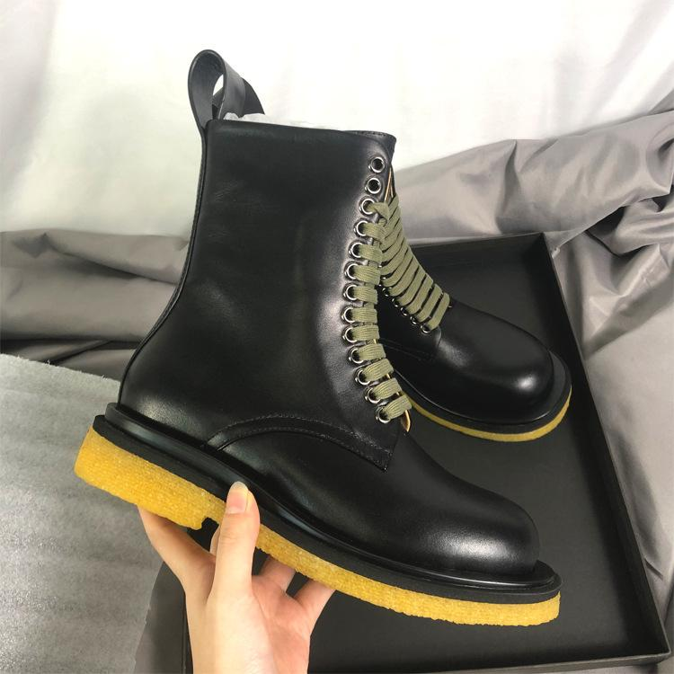 Genuine leather Inner heightening shoes Motorcycle boots Frosted texture Solid color lace-up Mid-calf high Martin boots women shoes
