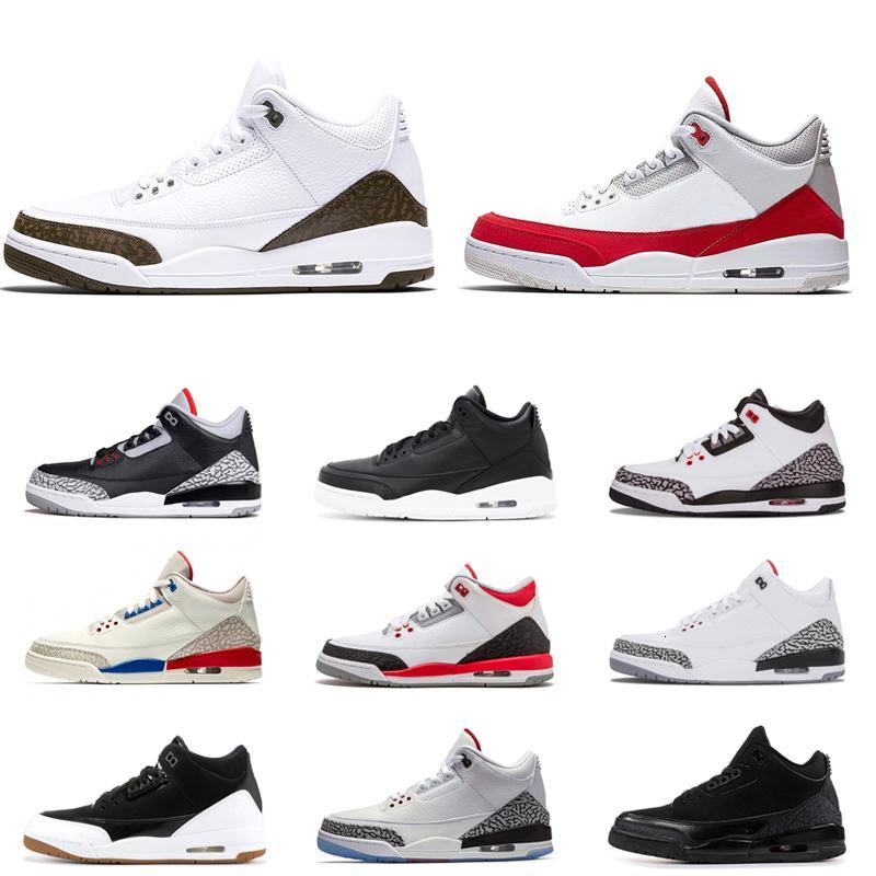 3 3s Uomini scarpe da basket Jumpman Black Cat di cemento rosso fuoco UNC Tinker verdi Knicks Rivals Mocha Mens Trainers Moda Sport Sneakers