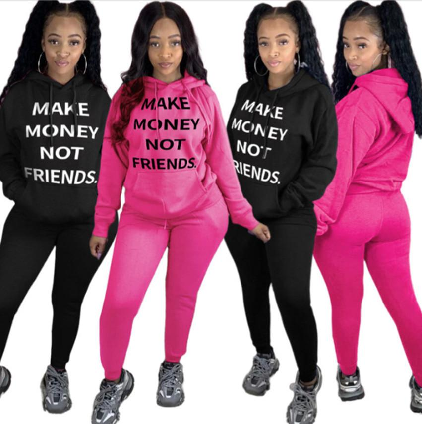 Women two piece set Sportswear S-2XL Sweatshirt pants tracksuit print Hoodies Leggings jogging suit Fall winter clothing DHL 3866