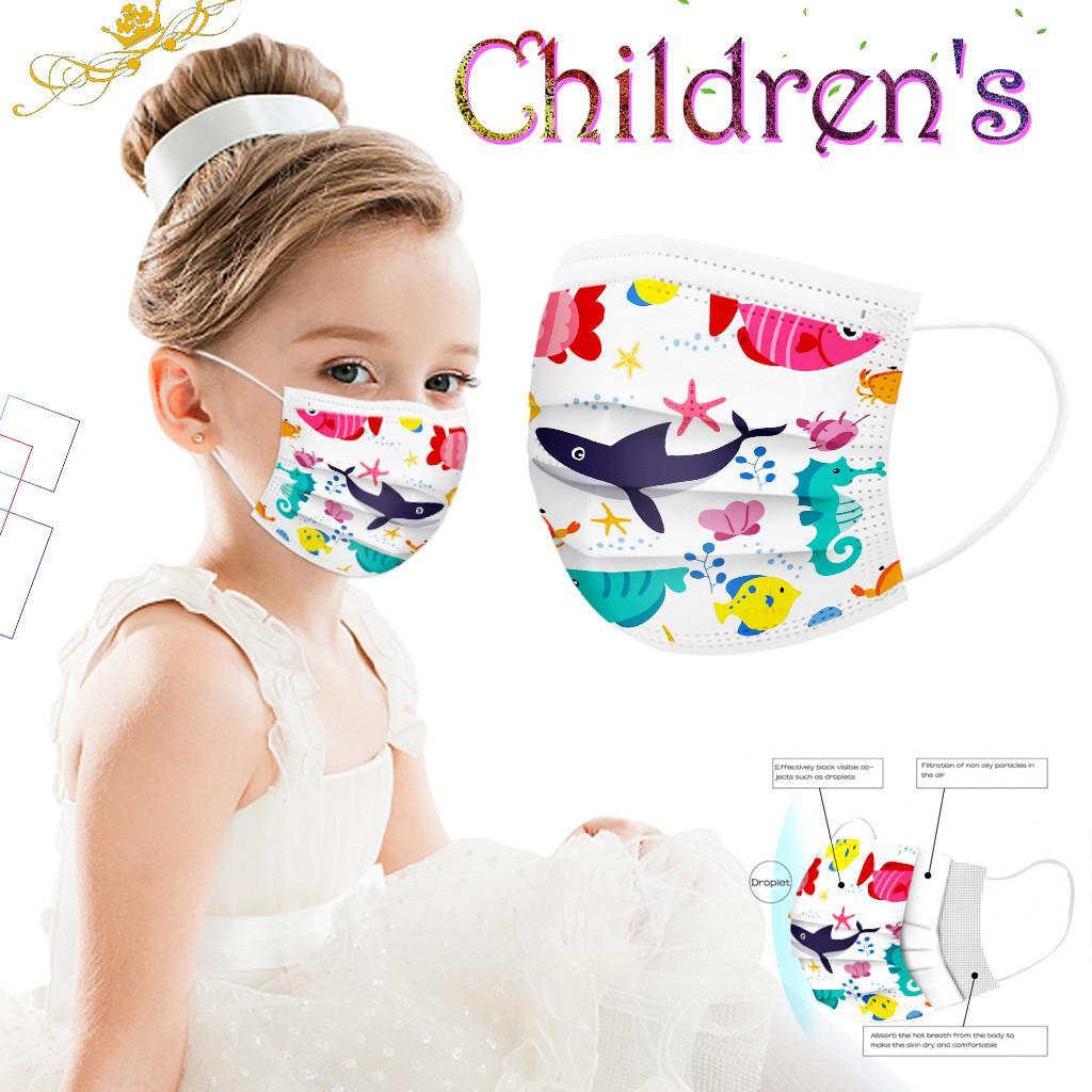 Máscaras 100 piezas desechables Face Kids protectores faciales del océano de la impresión de mascarillas Earloop cómodo Máscara Mascarilla protectora