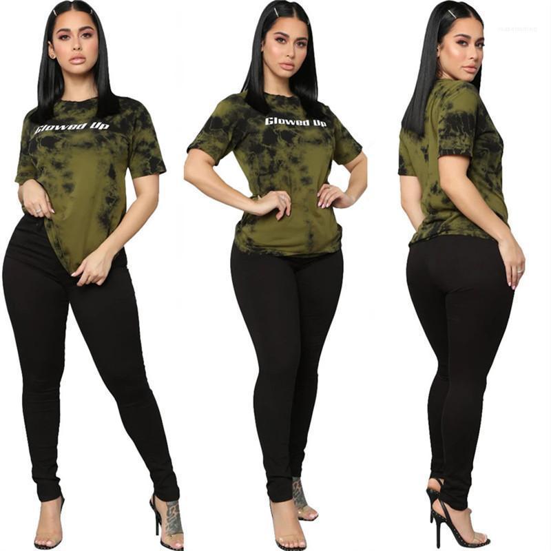 Due Pantaloni piece le donne di estate che coprono le donne tinto legame 2 oiece Imposta casuale a maniche corte Glowed Up Lettera
