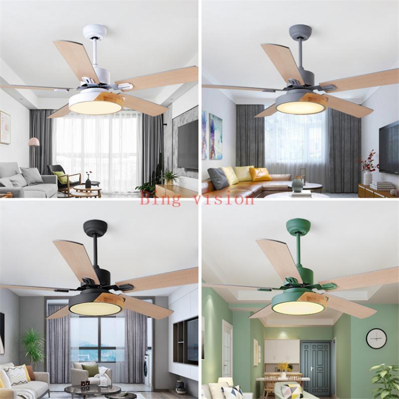 Ventilateurs électriques Nordic Creative Plafond 5 Blad Lampes de ventilateur en bois massif avec lumières pour salon à la maison Lumière de gradation à la maison