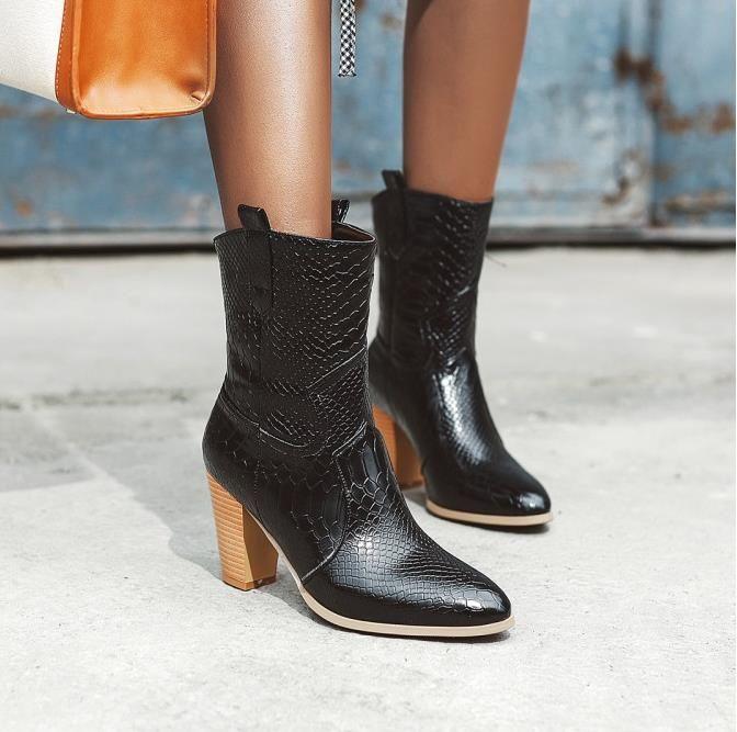 Moda lüks tasarımcı kadın botları kış kadın ayak bileği patik tasarımcı timsah PU deri tıknaz topuk 7.5cm boyutu 34 için 42 için 47001