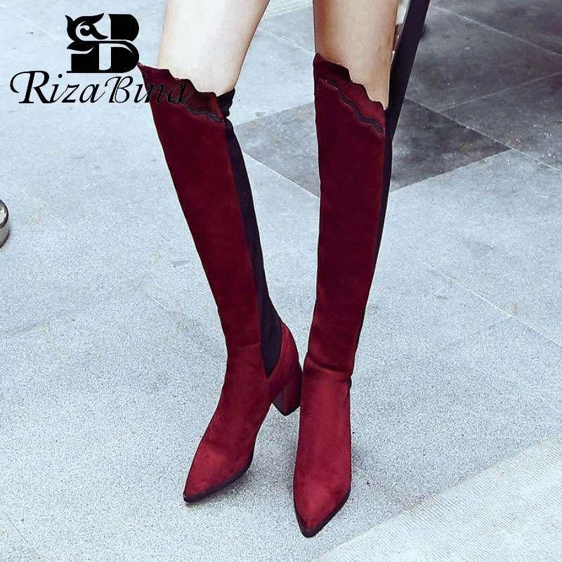 RIZABINA Sexy Sapato de bico fino sobre as botas do joelho para as mulheres inverno quente Salto Alto estiramento Botas Calçado Mulher Plus Size 32 48 Football B lwVs #