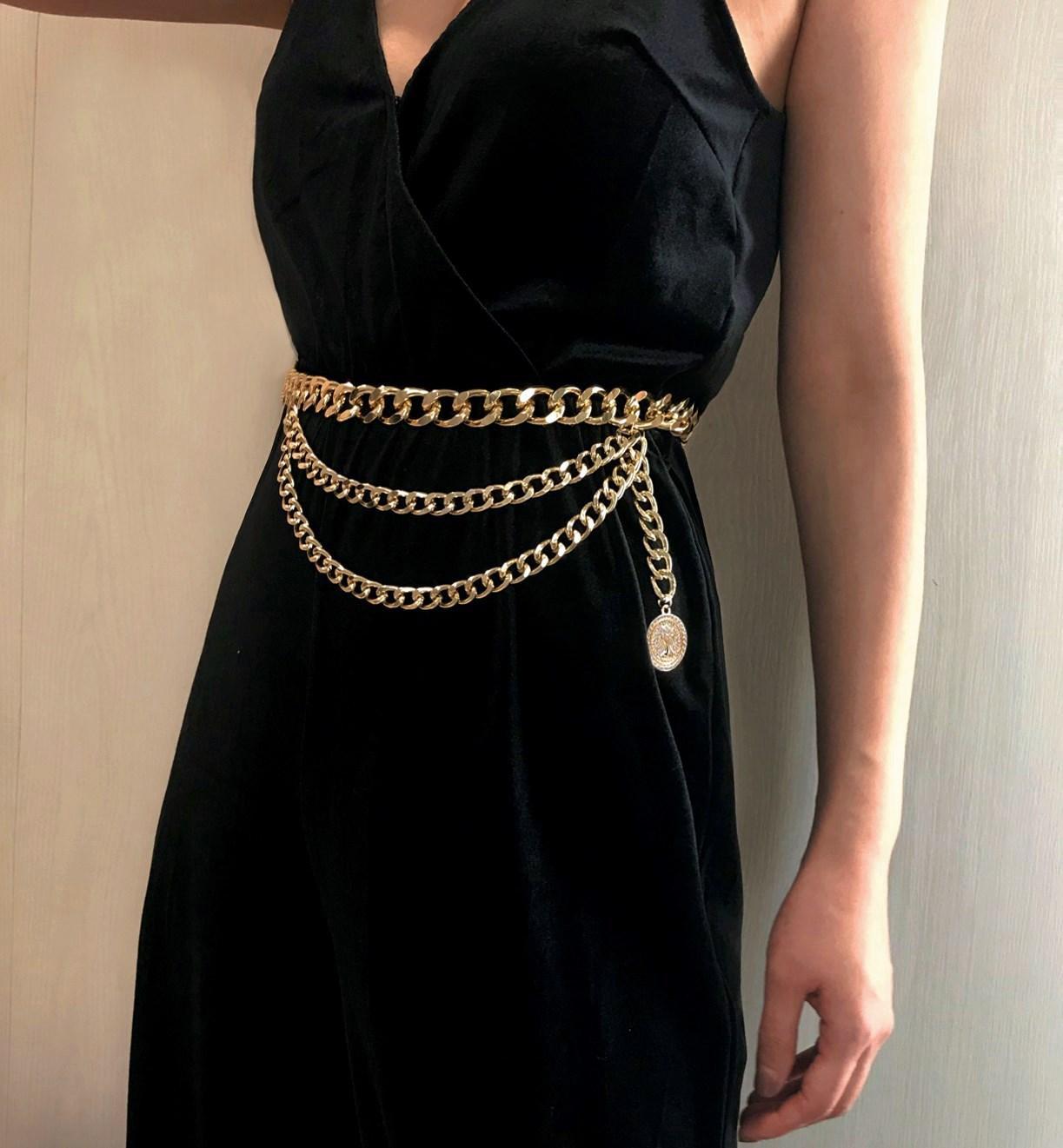 Cinturón de metal para las mujeres retro punky de la franja de cinturón plata del oro del vestido de las señoras de la borla de cinturones de cadena