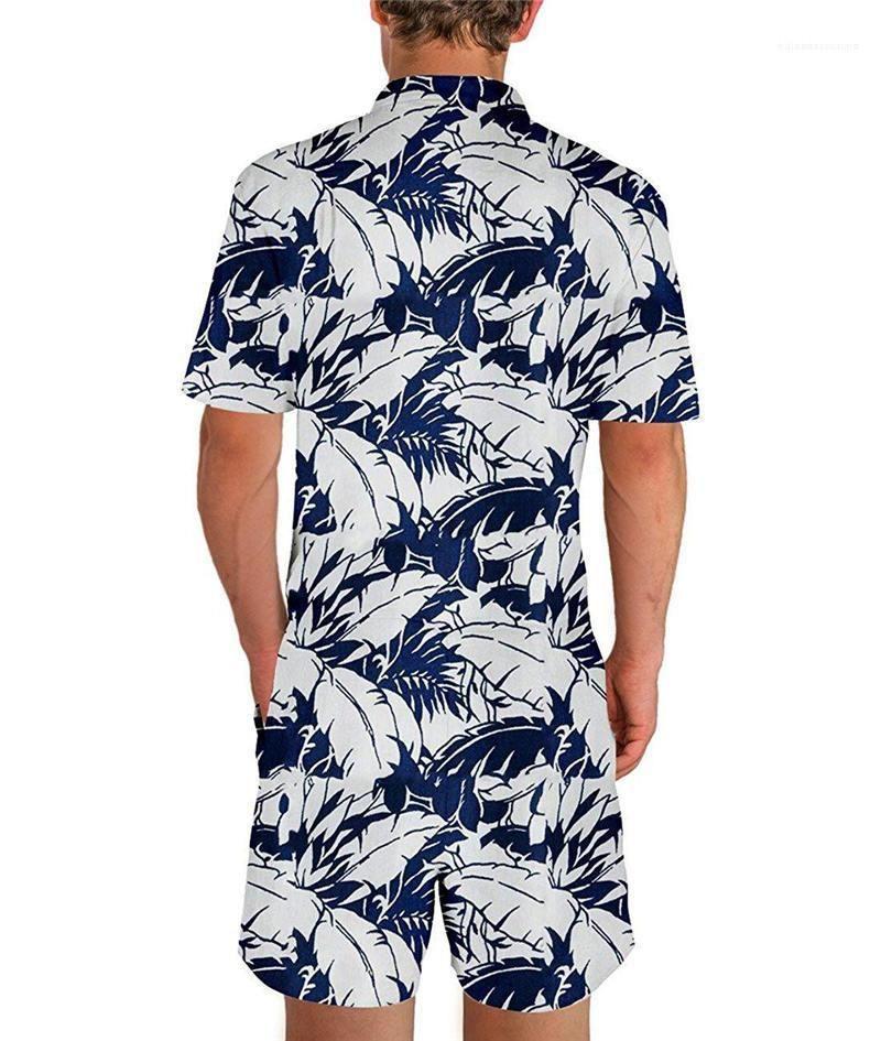 Гавайи костюмы лето Печать Fit мужские с коротким рукавом Мужские костюмы FashionTracksuits Бич Комбинезоны Слим Летняя одежда Mens