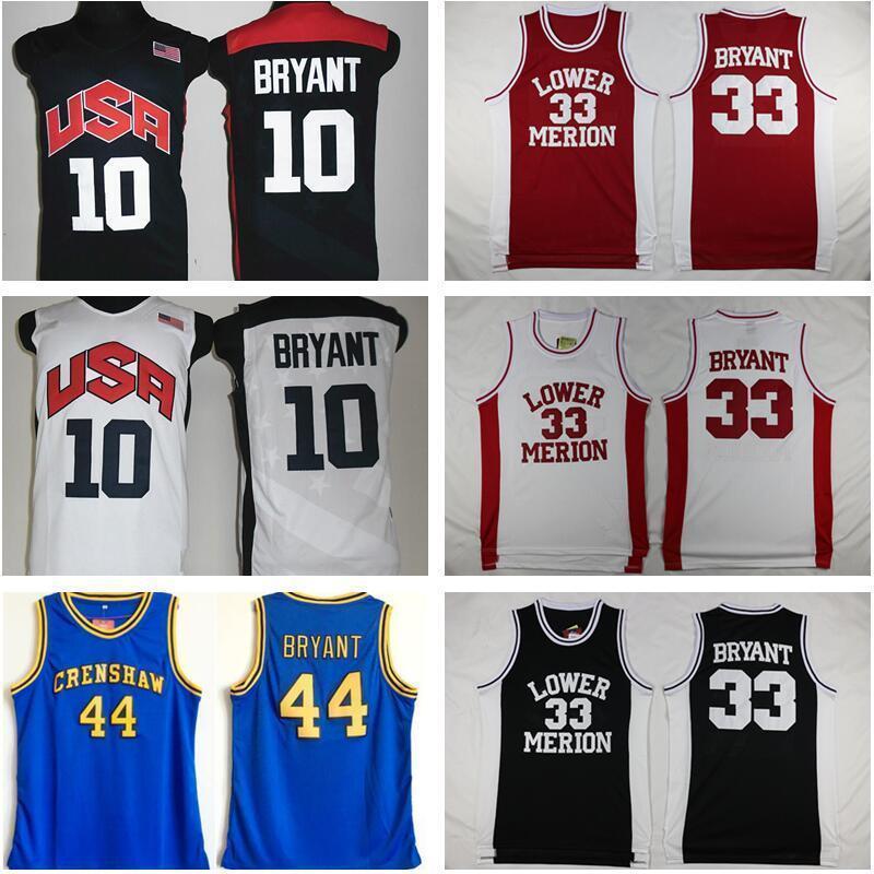 NCAA 2012 Team USA Merion Basse-Mérion 33 Bryant Jersey College Homme High School Basketball Hightower Crenshaw Dream Rouge Blanc Blanc Blanc cousu