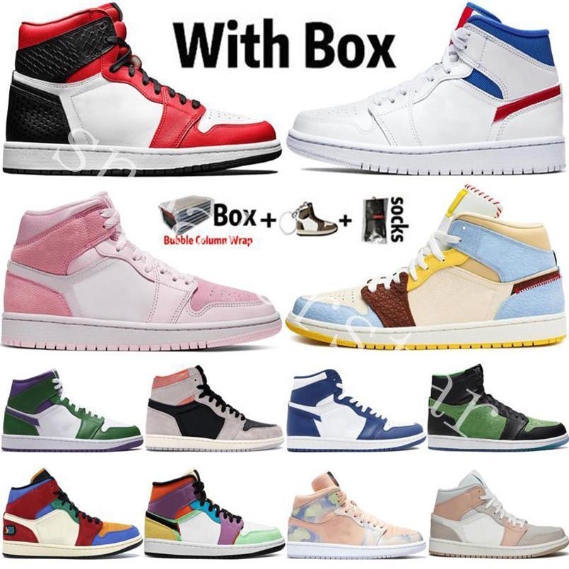 2020 Nueva llegada Jumpman 1 1S Zapatos de baloncesto para hombre High OG DIO UNC TIETE DYE DIGITAL PINK SNAYA CHICAKO Mujeres Deportes Sneakers Mens Entrenadores