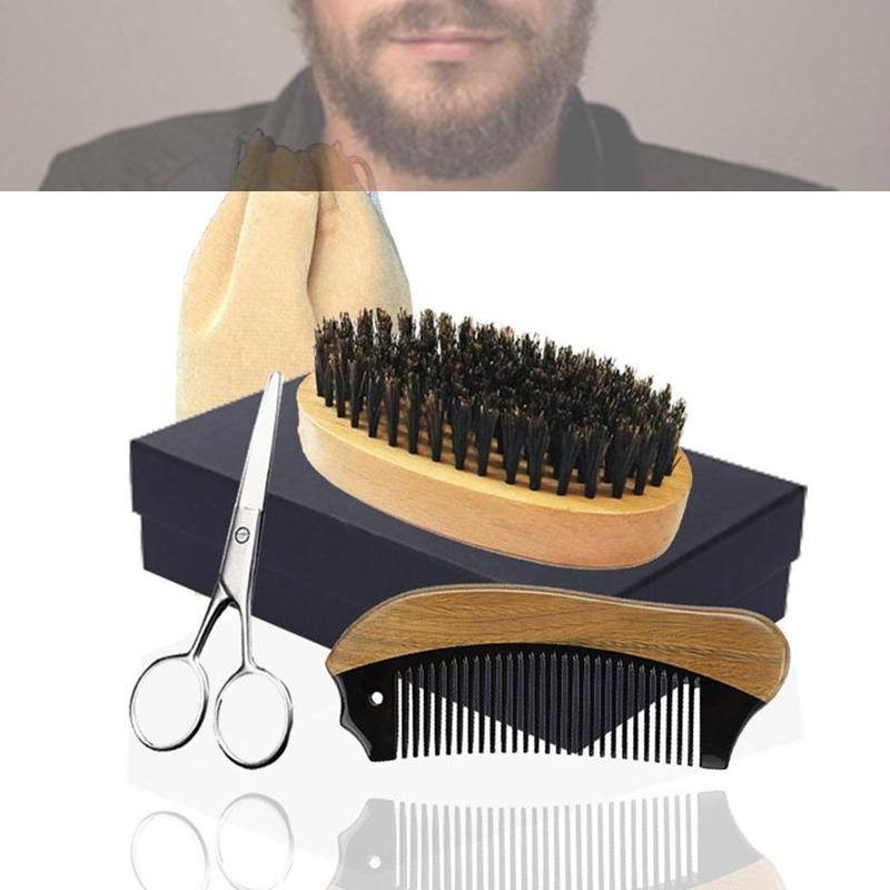 Vintage 5in1 Boar Bristle Beard Brush, Horn Wood Comb & Scissor Box Bearded Man Facial Makeup Hair Care Styling Grooming Trimming Company