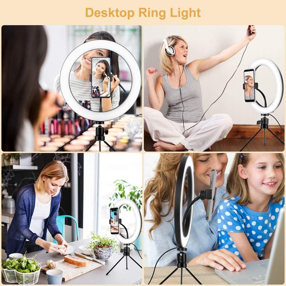 LED Selfie Ringlicht mit Stativ Runde Licht-Ring-Lampen Fotografie Beleuchtung Profissional Bluetooth, geben Sie bitte Fern YouTube