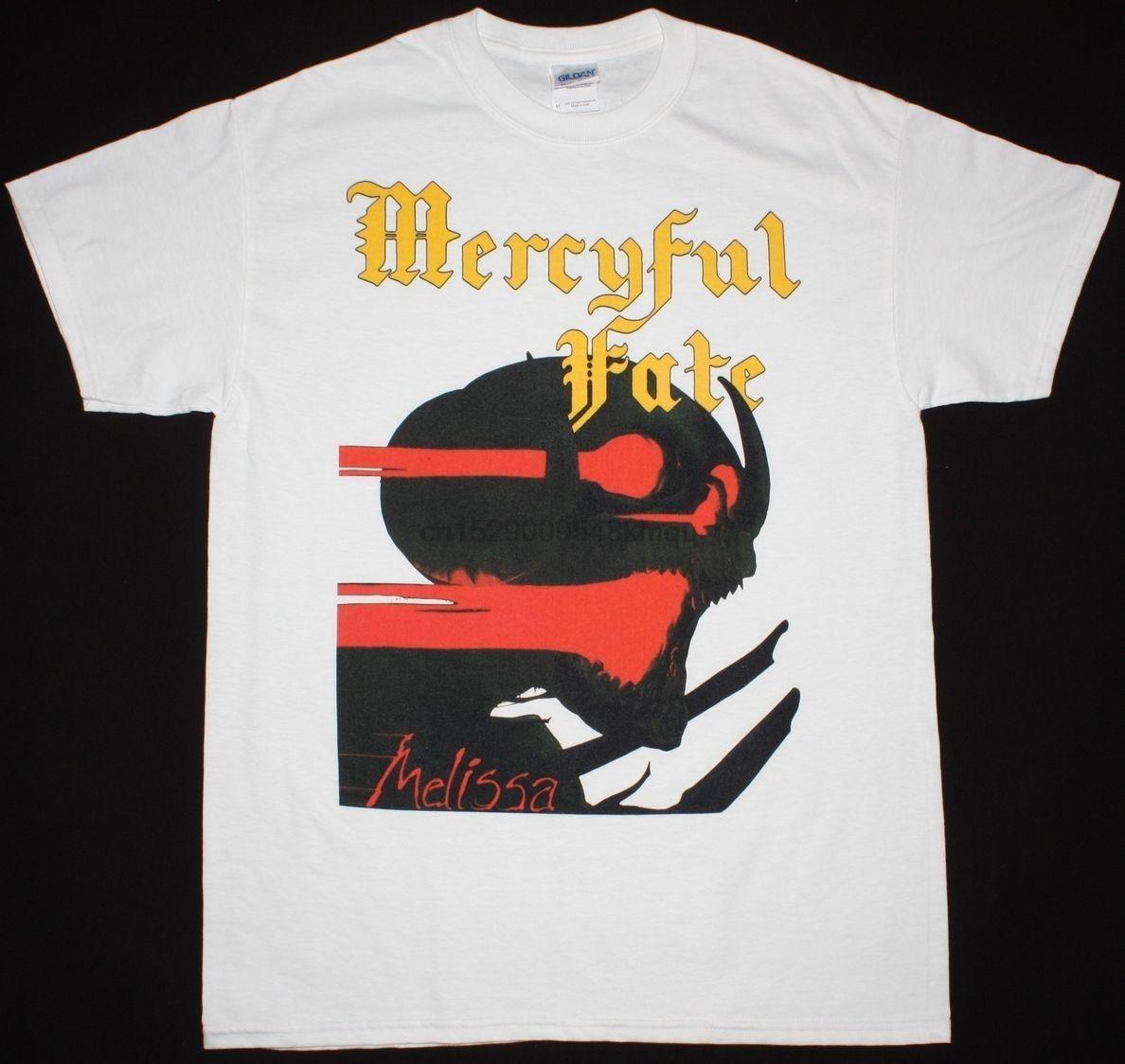 머시 플 페이트 MELISSA KING DIAMOND HEAVY METAL SAXON S-XXL NEW WHITE T 셔츠면 100 %의 티 셔츠 도매 티 꼭대기에 오른다