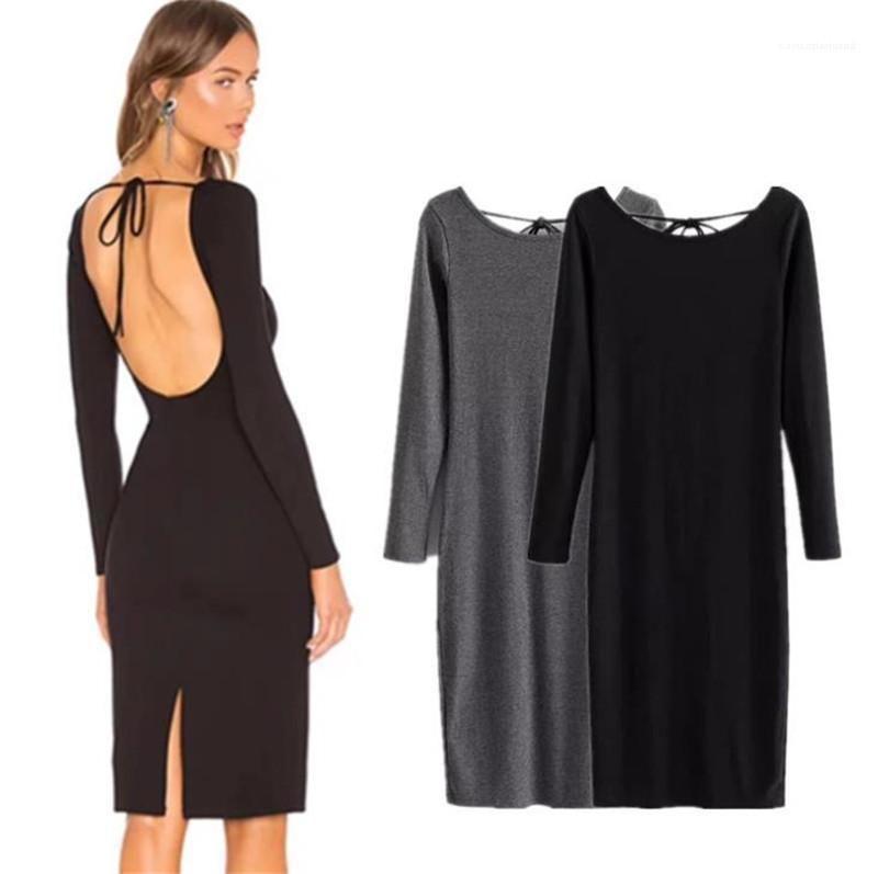 Mangas largas vestidos de las mujeres ocasionales vestido de Split diseñador para mujer atractiva del vestido de la manera delgada