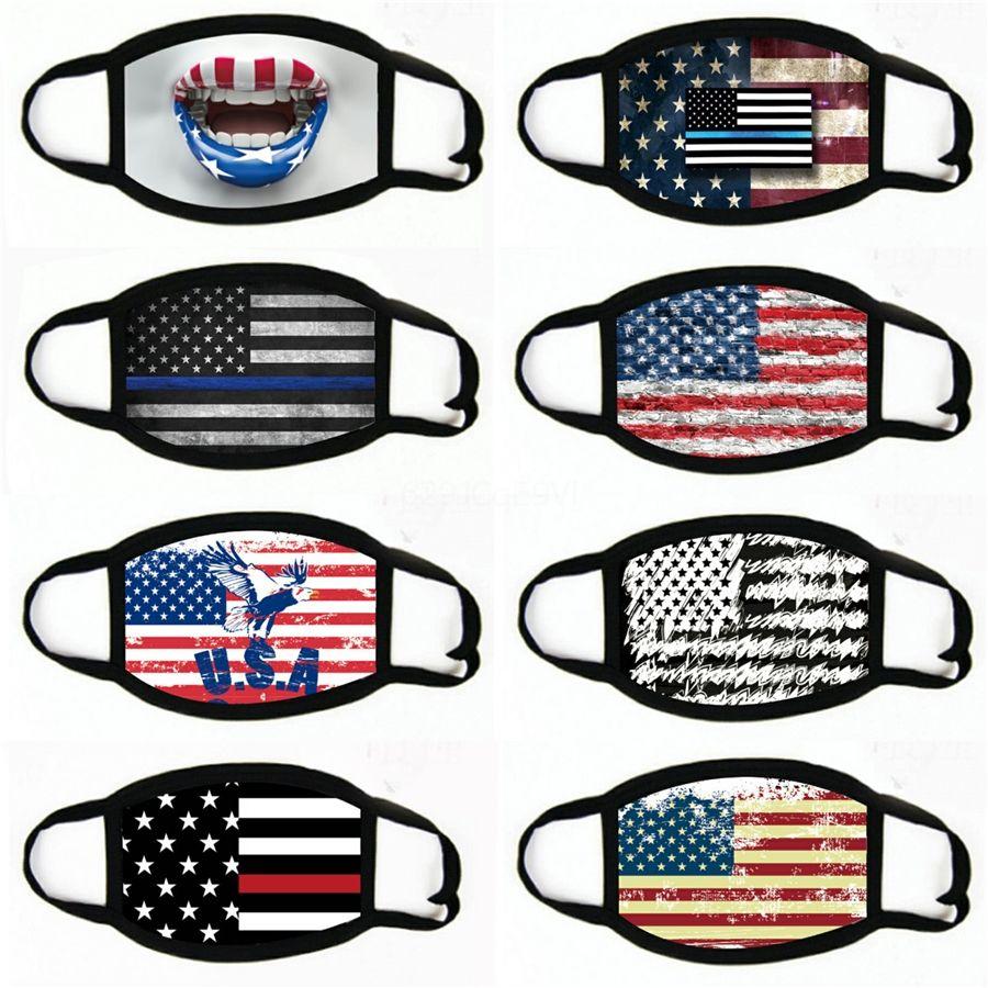 2020 Bandera estadounidense Cara Máscara WashableIce impresa seda Máscaras Mississippi bandera americana del polvo anti HHA1473 # 979