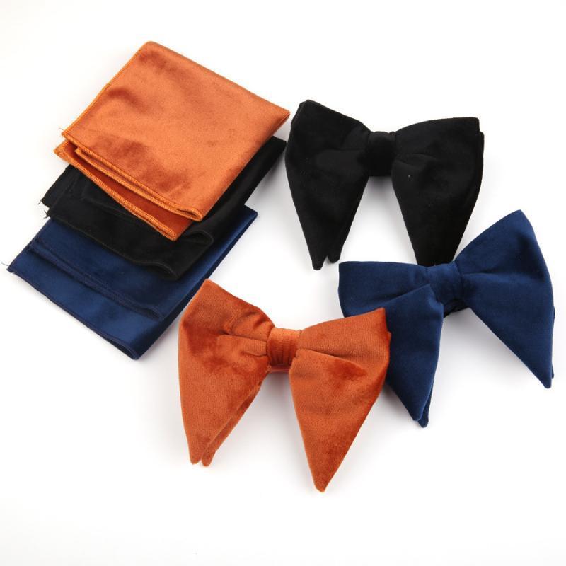 العلاقات الرقبة linbaiway الرجال كبيرة ربطة منديل مجموعة للرجال الصلبة المخملية القوس التعادل جيب سكوير أنثى بووتيس مخصص شعار