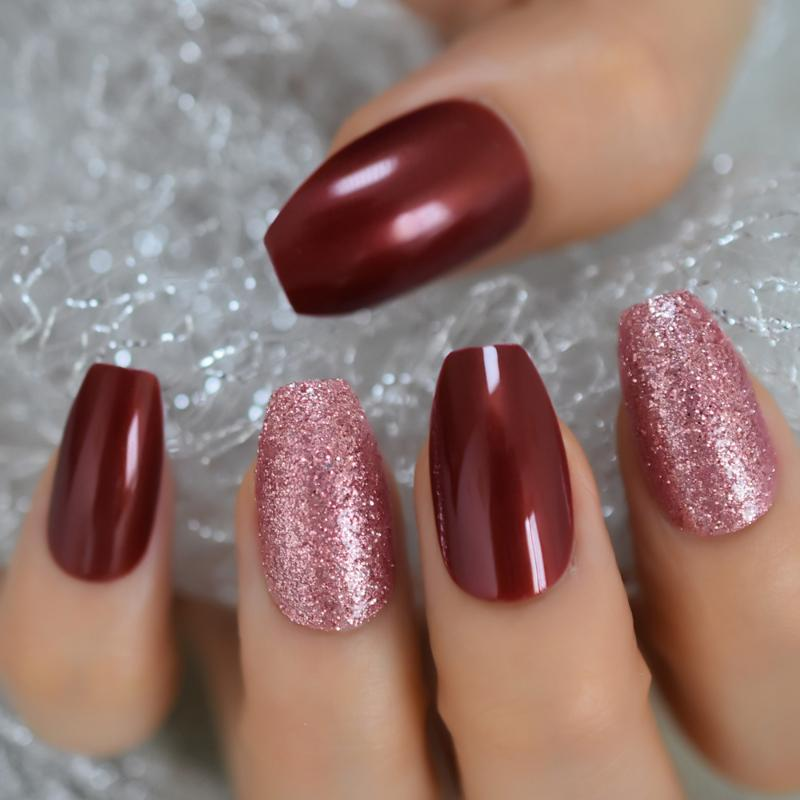 Wunderschöne Rose Gold Glitter Mix Weinrot Coffin Künstliche Nägel Ballerina Drücken auf falsche Nägel Full Cover Daily Office Wear Tipps
