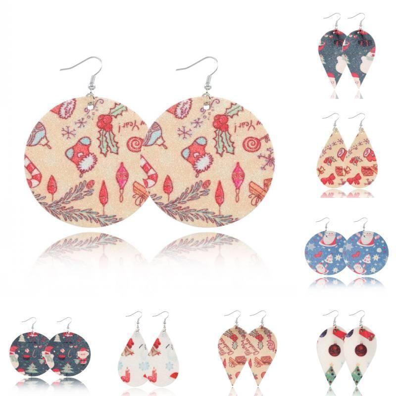 Favor pendientes de las mujeres cuelgan de Navidad 12 estilos hechos a mano de cuero de imitación de la lágrima partido de la joyería pendiente de Navidad de Santa Claus pendientes del encanto